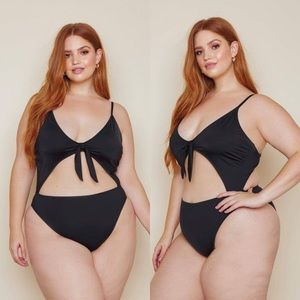 Other - *JUST IN*Naomi Tie Front Plus Size Black Swimsuit